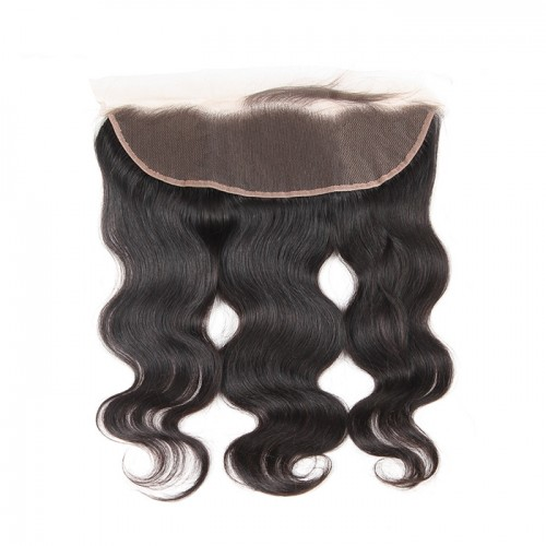 Brazilian Body Wave Lace Frontal Closure 13X4 with Baby Hair Human Hair Free Part Color 1b Remy Hair Free Shipping