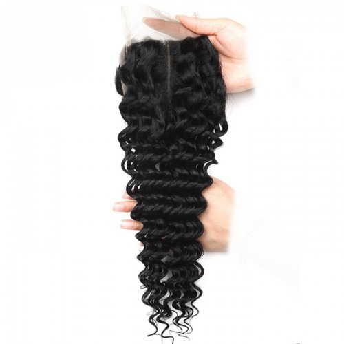 Lace Closure Hair Deep Wave Middle Part 100% Brazilian Remy Human Hair Closure With Baby Hair Natural Color