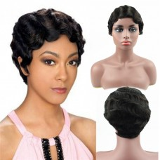 Short Finger Wave wigs Human Hair Curly Wig African American Black Women Wigs