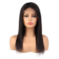 Lace Front Hair Wigs 100% human hair straight wig black color