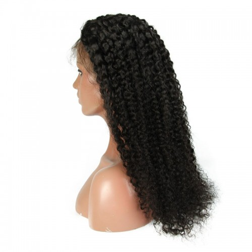 Lace Front Hair Wigs 100% human hair curly wig black color